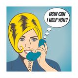 Woman Chatting on the Phone, Pop Art Illustration Premium Giclee Print by Eva Andreea