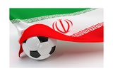 Iran Flag with Championship Soccer Ball Posters by  BarbraFord