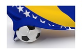 Bosnia and Herzegovina Flag with Championship Soccer Ball Prints by  BarbraFord