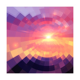 Magic Sunset in Abstract Stained Glass Poster by  art_of_sun
