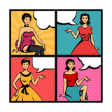 Illustration of Retro Girls in Pop Art Style Prints by  incomible