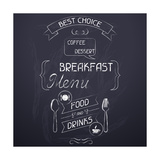 Breakfast on the Restaurant Menu Chalkboard Poster by  incomible