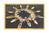 Circle of Paddle Boards, Ocean Beach Prints