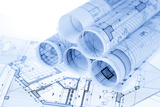Rolls of Architecture Blueprints and House Plans Photographic Print by  -Vladimir-