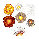 Explosions-Set of Various Illustrations Poster by  PILart