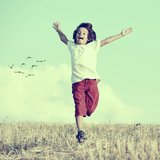 Little Boy Running Feeling Happiness and Freedom Poster by  zurijeta