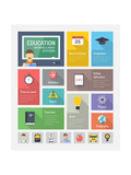 Education Flat Web Elements with Icons Art by  bloomua