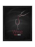 Wine Glass Chalkboard Menu Background Prints by  Pushkarevskyy
