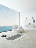 Modern Floor Bathtub Against Huge Window with Seascape View Photographic Print by  PlusONE