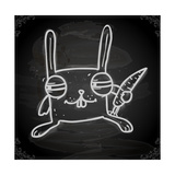 Cute Hand Drawn Illustration, Vintage Blackboard Texture Background Posters par Ozerina Anna