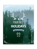 Retro-Styled Poster with Coniferous Forest Landscape Posters by  mart_m
