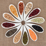 Pulses Vegetable Selection of Peas, Beans and Lentils in White Porcelain Bowls Photographic Print by  marilyna
