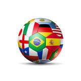 Brazil 2014,Football Soccer Ball with World Teams Flags Reproduction giclée Premium par  daboost