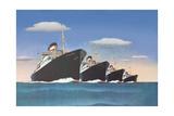 Four Big Ocean Liners Print