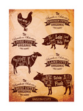 Diagram of Cut Carcasses Chicken, Pig, Cow, Lamb Lámina giclée premium por  111chemodan111
