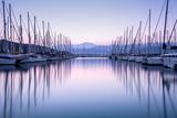 Large Yacht Harbor in Purple Sunset Light Reproduction photographique par Anna Omelchenko