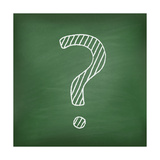 Question Mark on Green Chalkboard Prints by  Kazyavka
