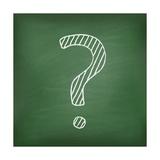Question Mark on Green Chalkboard Prints by  Kazyavka