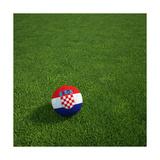 Croatian Soccerball Lying on Grass Print by  zentilia