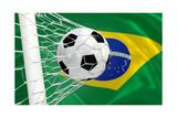 Brazil Waving Flag and Soccer Ball in Goal Net Posters by  BarbraFord