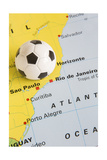 Football on Map of Brazil to Show 2014 Rio FIFA World Cup Tournament Prints by  Daisy Daisy