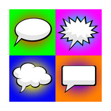 Pop Art Comic Speech Bubbles Premium Giclee Print by  PiXXart