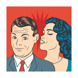Man and Woman Love Couple in Pop Art Comic Style Prints by Eva Andreea
