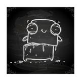 Cute Hand Drawn Illustration, Vintage Blackboard Texture Background Premium Giclee Print by Ozerina Anna