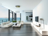 Luxury Living Room Interior with White Couch and Seascape View Posters by  PlusONE
