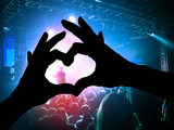 A Crowd of People at a Concert with a Heart Shaped Hand Shadow Photo by  graphicphoto