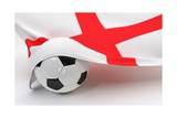 England Flag with Championship Soccer Ball Prints by  BarbraFord