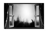 Open Window at Night Bw Prints by  MrEco99