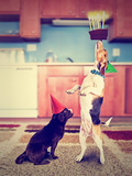 A Pug and a Beagle with Birthday Cake Photographic Print by  graphicphoto