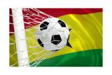 Ghana Waving Flag and Soccer Ball in Goal Net Art by  BarbraFord