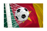 Cameroon Waving Flag and Soccer Ball in Goal Net Posters by  BarbraFord