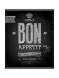 Vintage Bon Appetit Poster - Chalkboard Print by  avean
