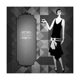 Retro Party Background with Beautiful Girl of 1920s Style Art by  incomible