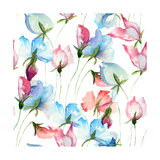 Wallpaper with Sweet Pea Flowers Prints by  Ateli