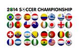 Soccer Championship 2014 Groups Flags Kunstdrucke von  emrCartoons