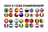 Soccer Championship 2014 Groups Flags Láminas por  emrCartoons