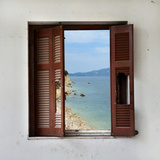 Beach Landscape Through Broken Window Photographic Print by  sirylok