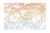 Wireframe City with Buildings and Blueprint Design Art Prints by  kentoh