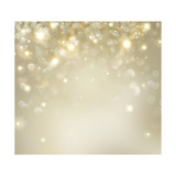 Christmas Background: Golden Holiday Abstract Glitter Defocused Background with Blinking Stars Prints by Subbotina Anna