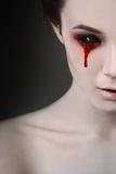 Portrait of a Female Vampire over Black Background Fotografisk tryk af  Lisa_A