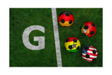 Soccer Balls with Flags of Germany, Portugal, Ghana, United States Posters by  BarbraFord