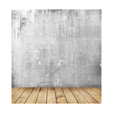 Empty Interior of Vintage Room with Grey Grunge Stone Wall and Old Wooden Floor Poster by  Olegkalina