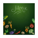 Chalkboard with Vegetables for Restaurant Menu Posters by  BerSonnE