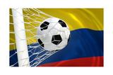 Colombia Waving Flag and Soccer Ball in Goal Net Posters av  BarbraFord