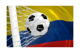 Colombia Waving Flag and Soccer Ball in Goal Net Prints by  BarbraFord