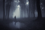 Man in a Dark Forest with Fog and Pond Poster par  ando6